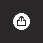 upload icon. Filled upload icon for website design and mobile, app development. upload icon from filled interface collection isolated on black background.