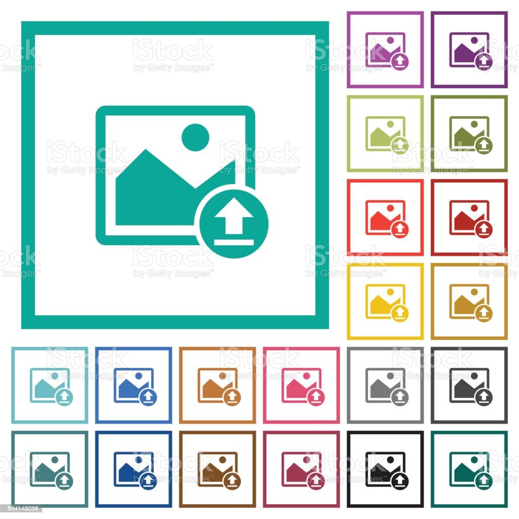 Upload Image Flat Color Icons With Quadrant Frames Stock Vector Art ...