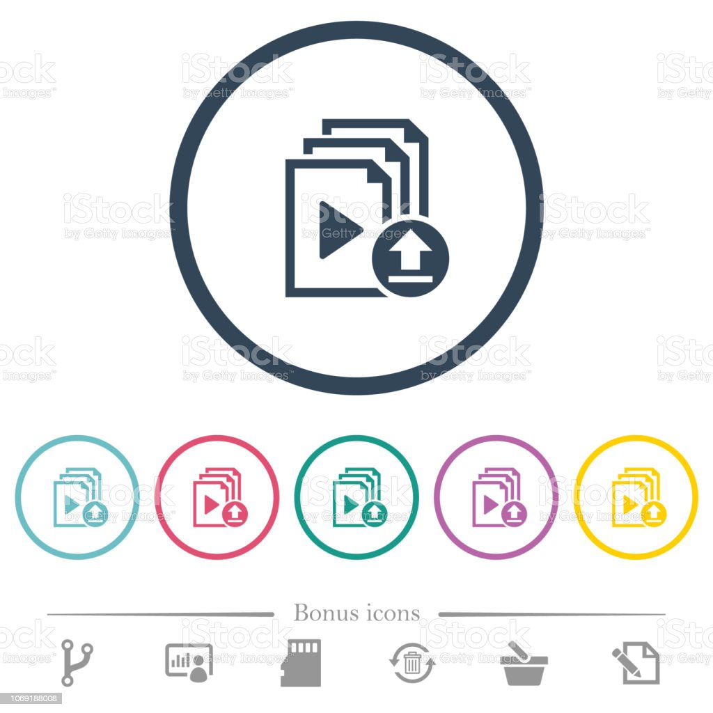 Upload playlist flat color icons in round outlines vector art illustration