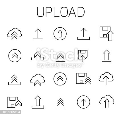 Upload related vector icon set. Well-crafted sign in thin line style with editable stroke. Vector symbols isolated on a white background. Simple pictograms.