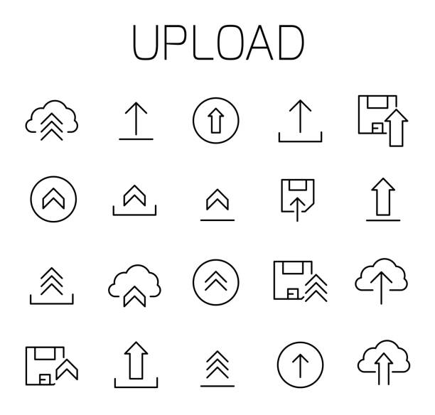 Upload related vector icon set. Upload related vector icon set. Well-crafted sign in thin line style with editable stroke. Vector symbols isolated on a white background. Simple pictograms. loading stock illustrations