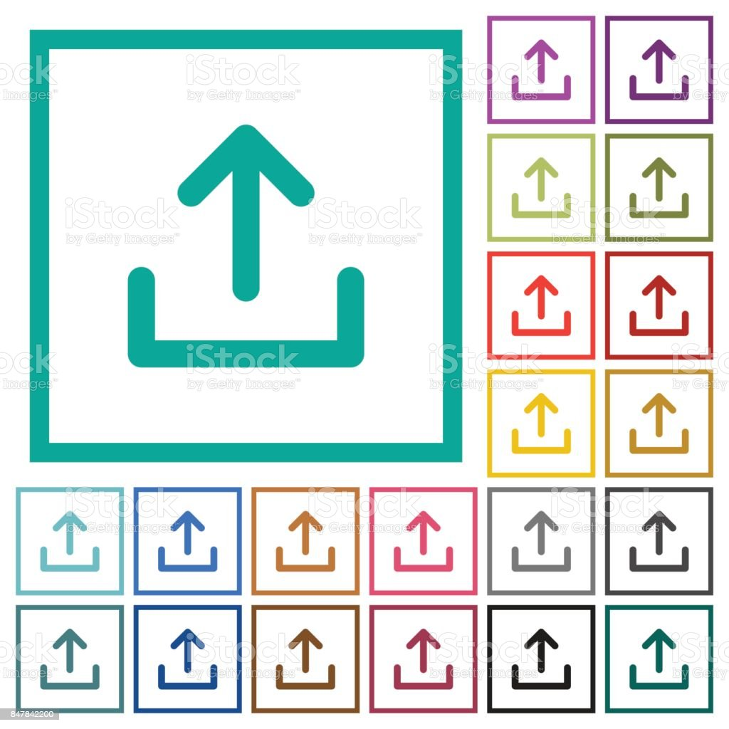 Upload Symbol Flat Color Icons With Quadrant Frames Stock Vector Art ...