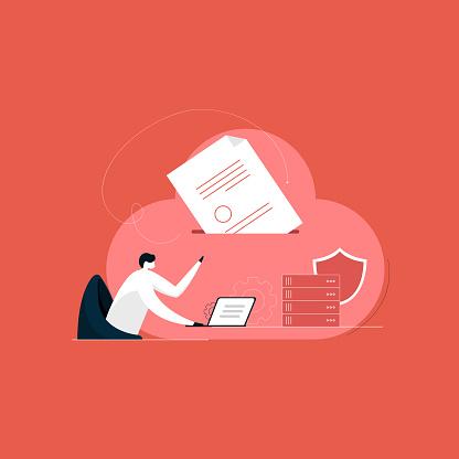 uploading big data on cloud server, securing data concept