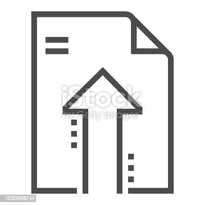 istock Uploading file, square line vector icon 1330699244