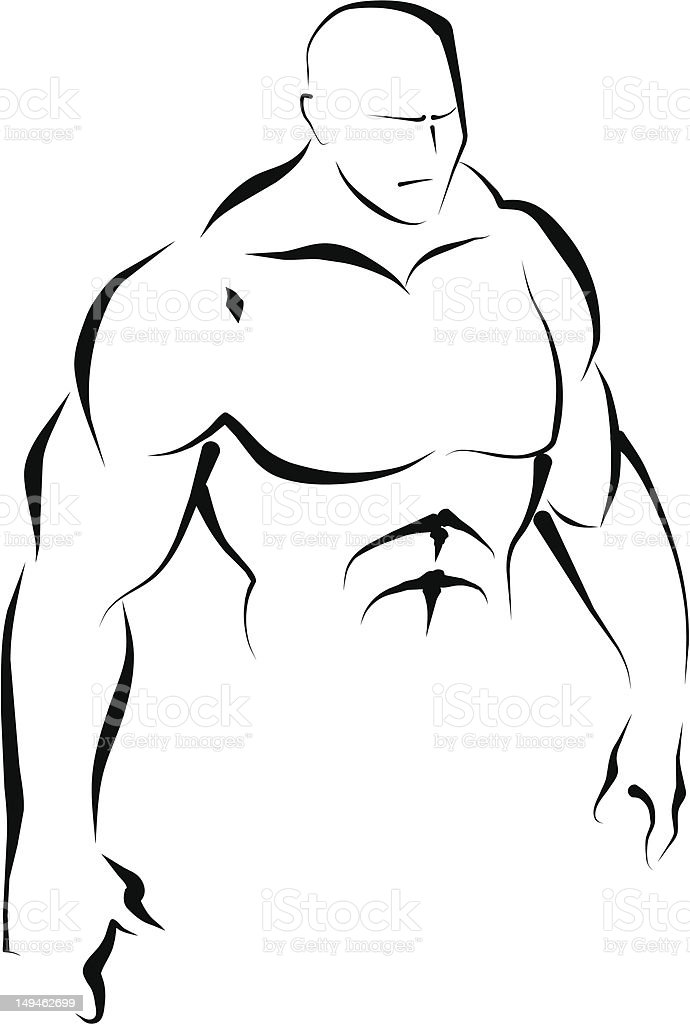 Upper body. Line art. - Royalty-free Active Lifestyle stock vector
