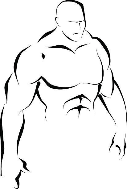 Upper body. Line art. vector art illustration