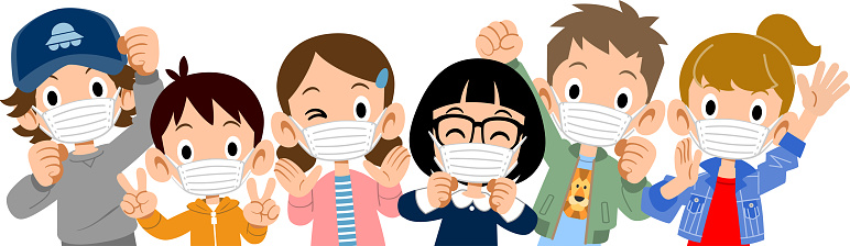 Upper body of energetic children wearing masks clipart