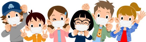 oberkörper von energiegeladenen kindern, die masken tragen - kind stock-grafiken, -clipart, -cartoons und -symbole