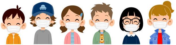 illustrations, cliparts, dessins animés et icônes de haut du corps des enfants souriants utilisant des masques - enfant masque