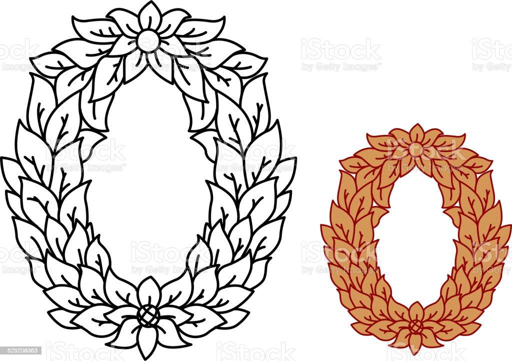 Ilustración de Alfabeto Letras Mayúsculas O En Las Hojas Y Flores y ...
