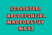 Uppercase comic book text alphabet. 3d vintage font with halftone shadow for kids. Bold cartoon font set for school education design. Funny pink comic font collection with numbers.