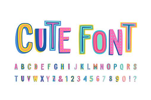 Uppercase cute alphabet font.
