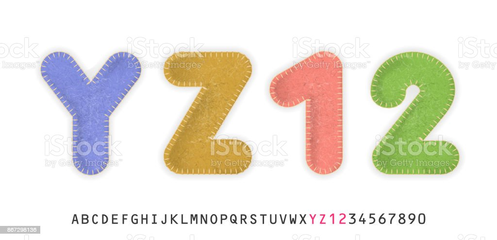 Uppercase Realistic Letters Y Z And Numbers 1 2 Made Of Color Felt Fabric