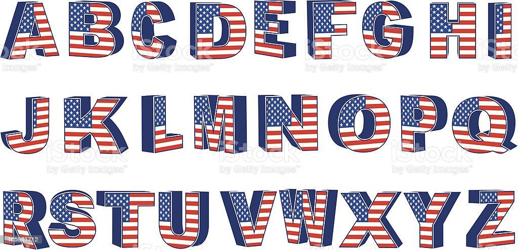USA Uppercase Text vector art illustration