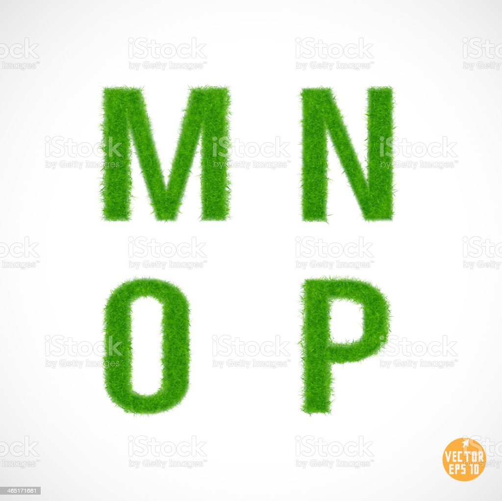 M N O P uppercase with grass textured isolated, vector royalty-free stock vector art