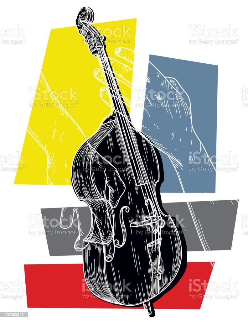 Upright Bass vector art illustration