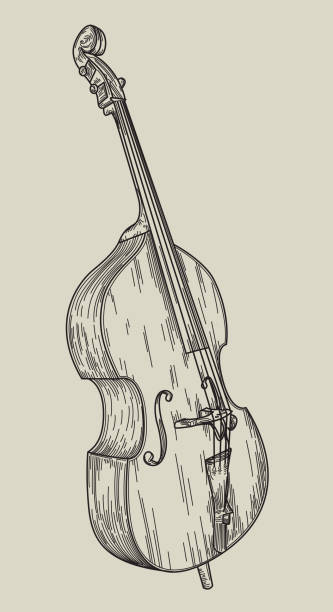 Upright Bass vector art illustration