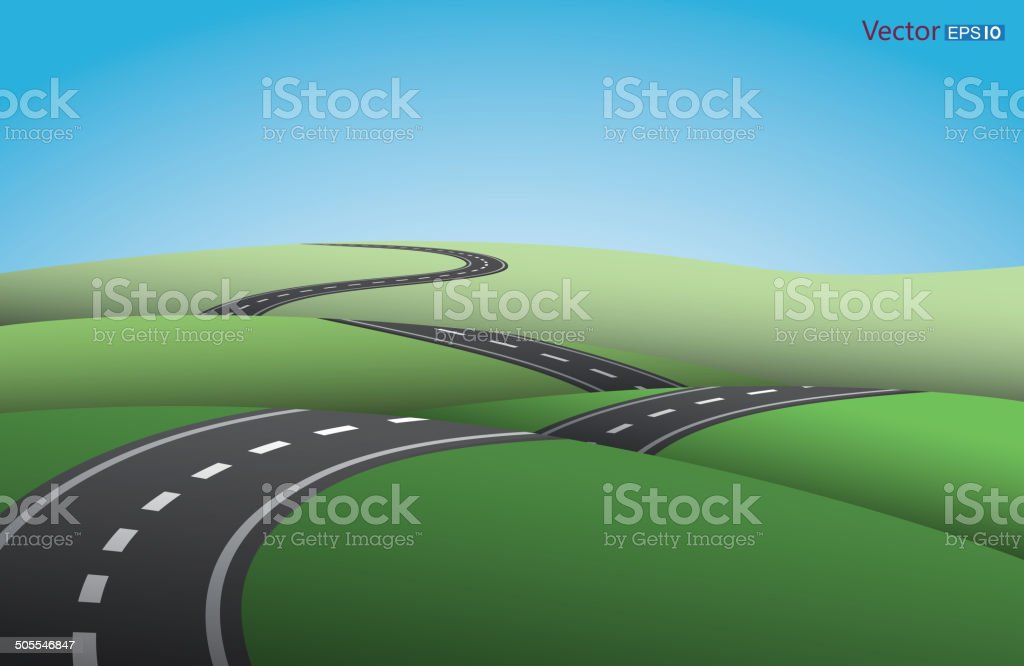 Ups and downs road vector art illustration