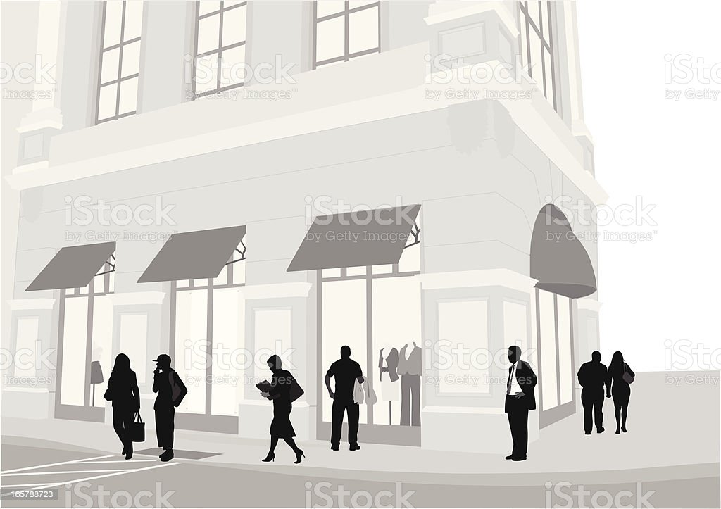 Upscale Retail Vector Silhouette vector art illustration