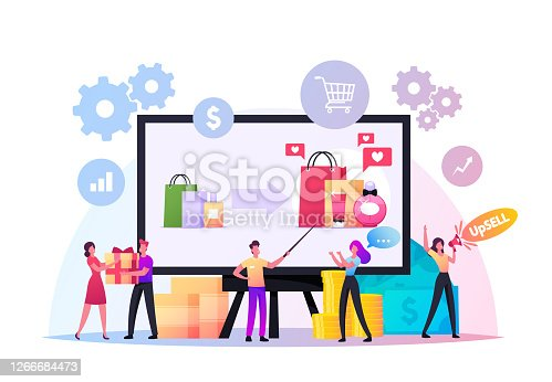 Upsell Concept. Tiny Sellers and Buyers Characters at Huge Pc. Upselling Online Marketing, Technique for More Profitable Sale. Promo for Shoppers, Gifts and Bonuses. Cartoon People Vector Illustration