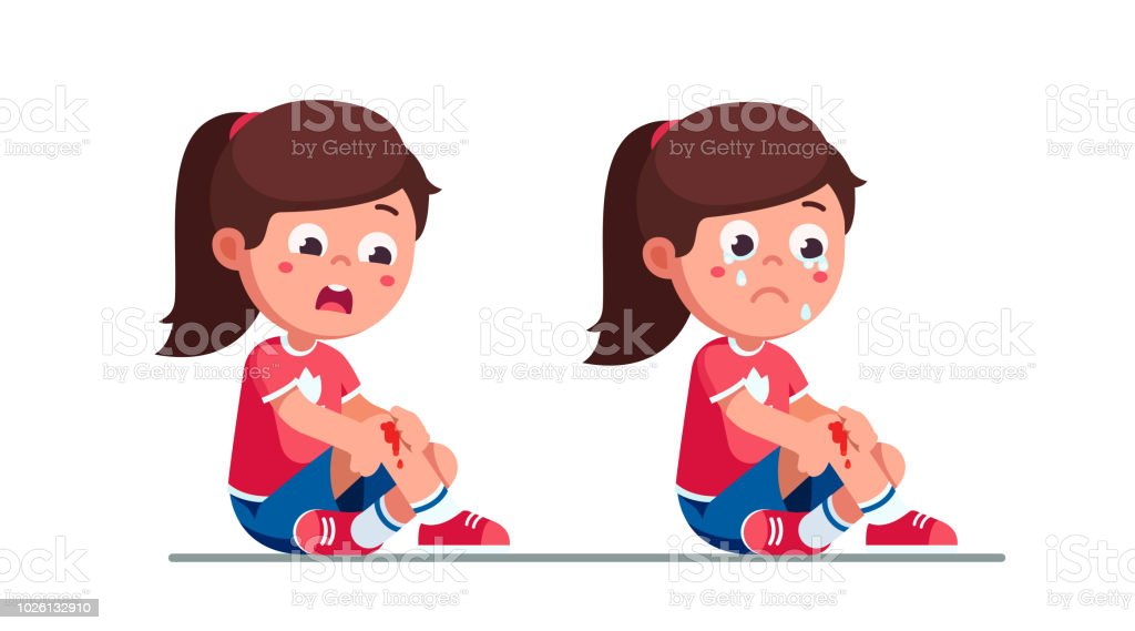 Upset and crying preschool girls kids holding painful wounded bleeded leg knee. Childhood activity injury hazard. Child cartoon characters flat vector clipart illustration. vector art illustration