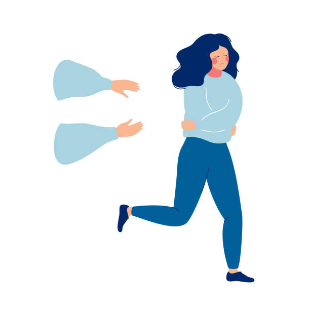 Upset and depressed young woman runs away from human hands reaching for her. Upset and depressed young woman runs away from human hands reaching for her. Concept of sexual abuse, assault, violence, psychological problem. Flat cartoon vector illustration. escaping stock illustrations