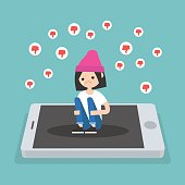 Upset crying girl sitting on the mobile's screen and hugging her knees surrounded by the dislike symbols / editable flat vector illustration, clip art