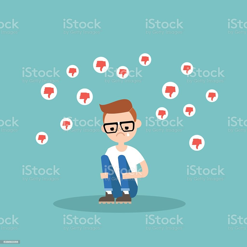 Upset crying nerd sitting and hugging his knees vector art illustration