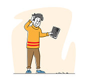 Upset Male Character Holding Broken Tablet with Splinters on Ground. Man with Smashed Gadget on Street. Unlucky Situation, Fallen Cellphone or Mobile Phone Negative Emotion. Linear Vector Illustration