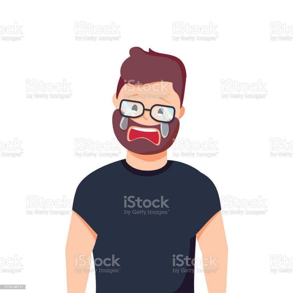 泣いている人を混乱させます怒りと痛みベクトル イラスト漫画のスタイルで頭痛失望や恥 アイコンのベクターアート素材や画像を多数ご用意 Istock