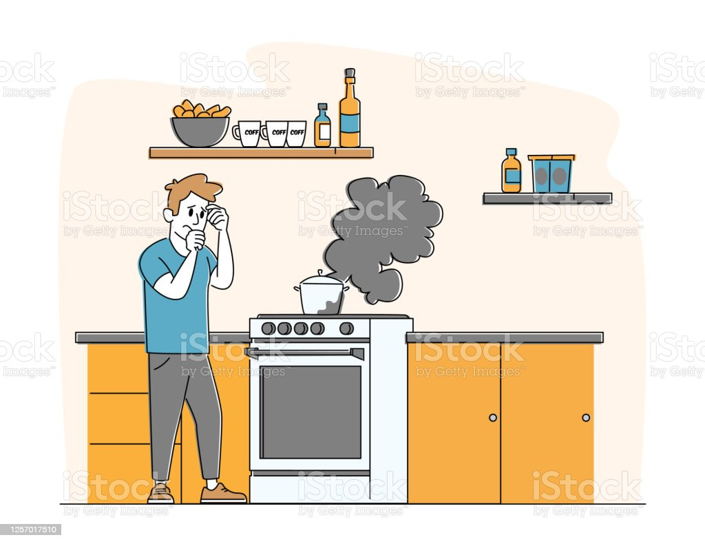 Upset Man Stand at Oven with Burning Fire in Pan. Household Male Character Unhappy Culinary Experience, Cooking Failure - Royalty-free Adulto arte vetorial