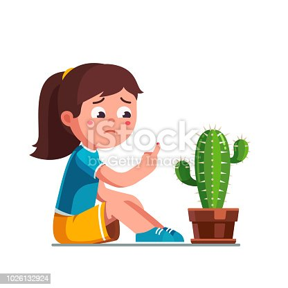 Upset preschool girl kid pricked finger on cactus thorn. Sad kid looking at bleeding finger with blood drip. Child cartoon character. Childhood injury pain. Flat vector illustration isolated on white background.