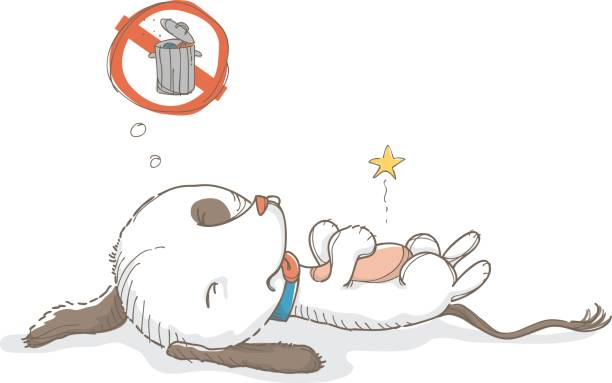 Upset stomach dog Poor little dog has been eating out of a trashcan. dog bad stomach stock illustrations