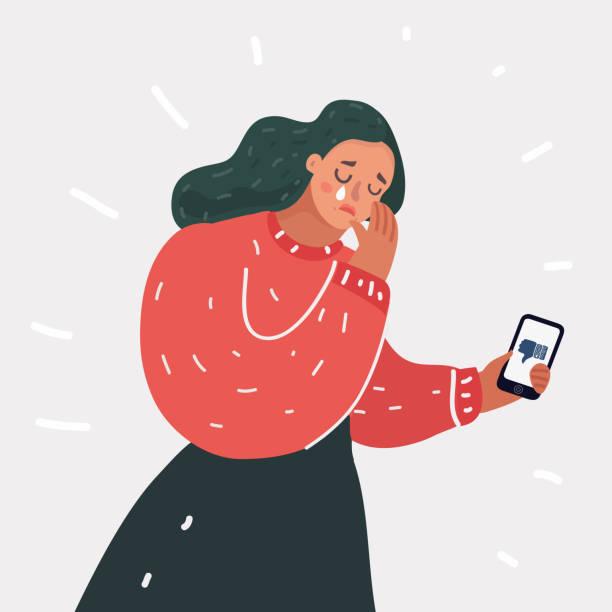 ilustrações de stock, clip art, desenhos animados e ícones de upset victim of cyber bullying. - deceção