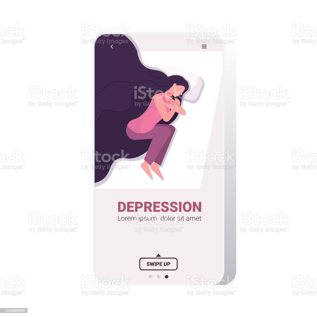 Upset Woman Crying Depressed Girl Lying In Bed Depression Problems Stress Pain Psychology Concept Stock Illustration Download Image Now Istock