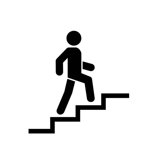 im obergeschoss symbolzeichen. gehen sie mann in der treppe. karriere-symbol. flaches design. vektor-illustration. - treppe stock-grafiken, -clipart, -cartoons und -symbole