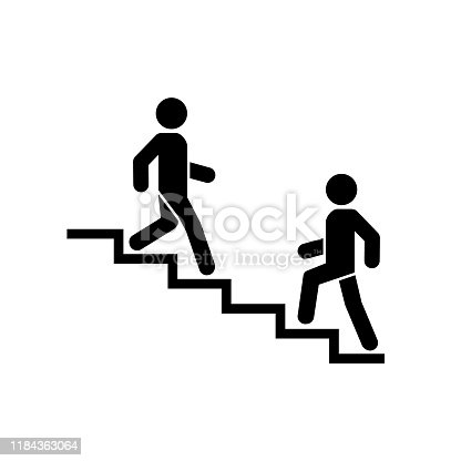 istock Upstairs-downstairs icon sign. Walk man in the stairs. Career symbol. flat design. Vector illustration. 1184363064