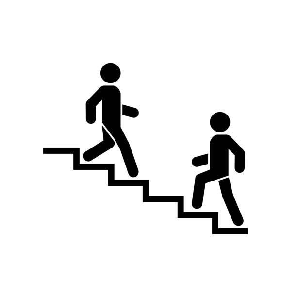 stockillustraties, clipart, cartoons en iconen met boven-beneden pictogram teken. lopen man in de trap. carrière symbool. plat ontwerp. vector illustratie. - tree