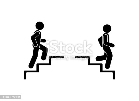 Upstairs-downstairs icon sign. Walk man in the stairs. Man walking up the steps stick figure pictogram.