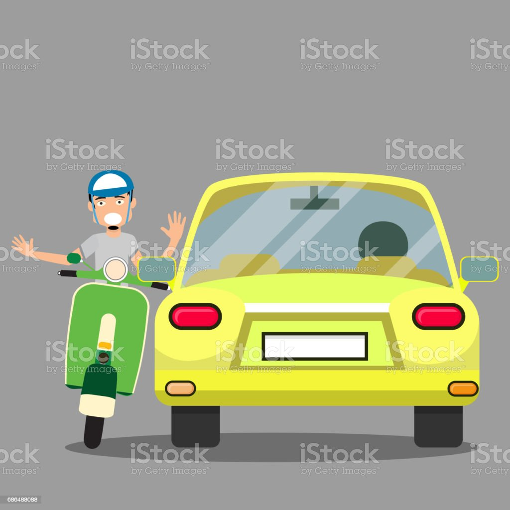 uptight vehicle driver and Issue with scooter. vector art illustration