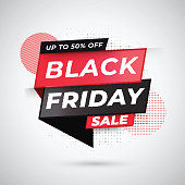 Upto 50% offer for Black Friday Sale tag or ribbon on white dotted effect background.