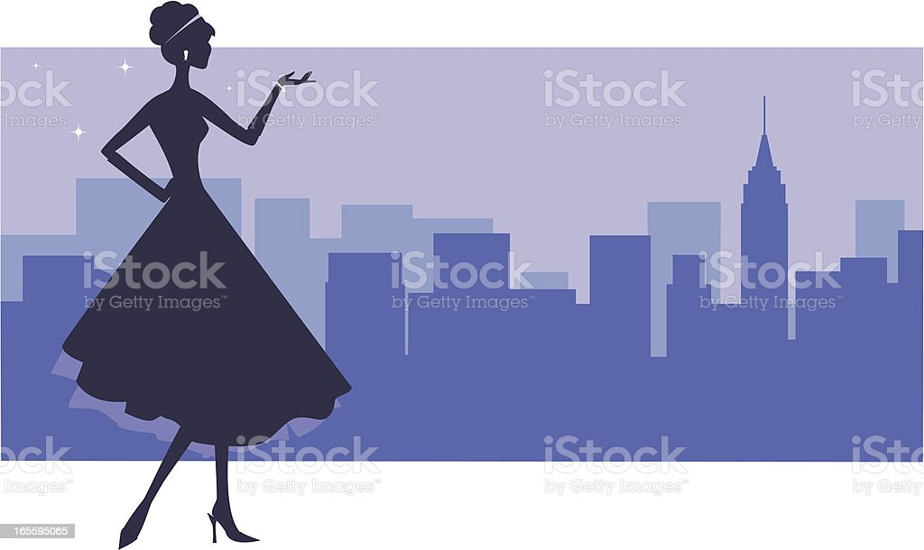 Uptown Girl vector art illustration