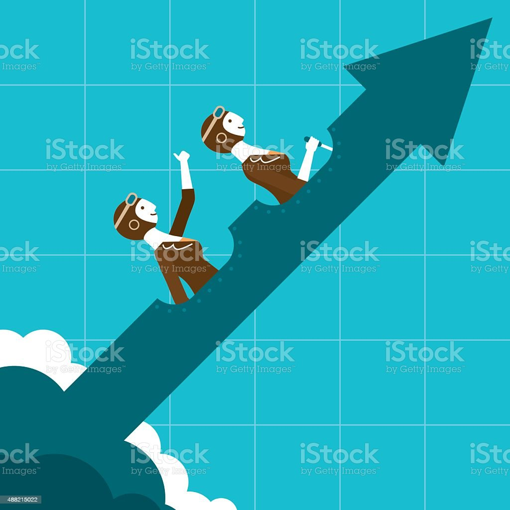 Uptrend Business Pilots | New Business Concept vector art illustration