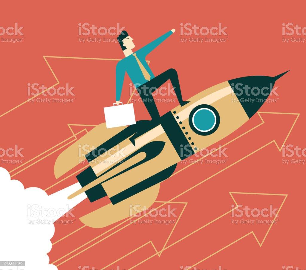 Uptrend - Businessman vector art illustration
