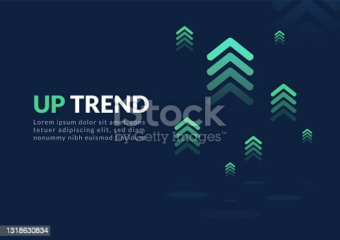 istock Uptrend digital abstract background. 1318630834