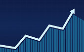 uptrend line arrows with bar chart in stock market on blue color background