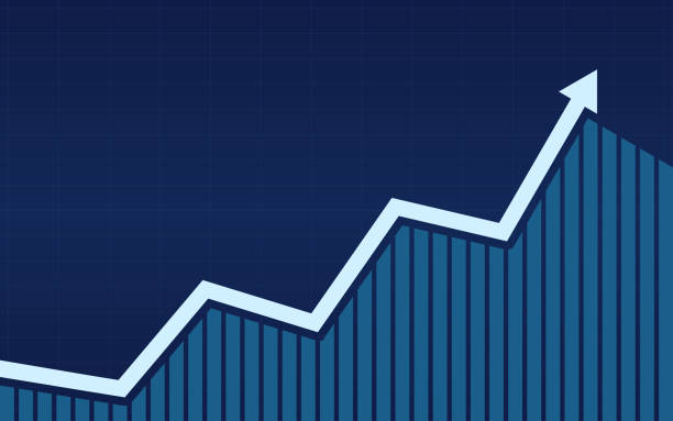 uptrend line arrows with bar chart in stock market on blue color background - dane giełdowe stock illustrations