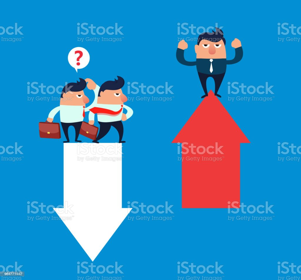 Upward arrow contrasting downward arrow royalty-free upward arrow contrasting downward arrow stock vector art & more images of achievement