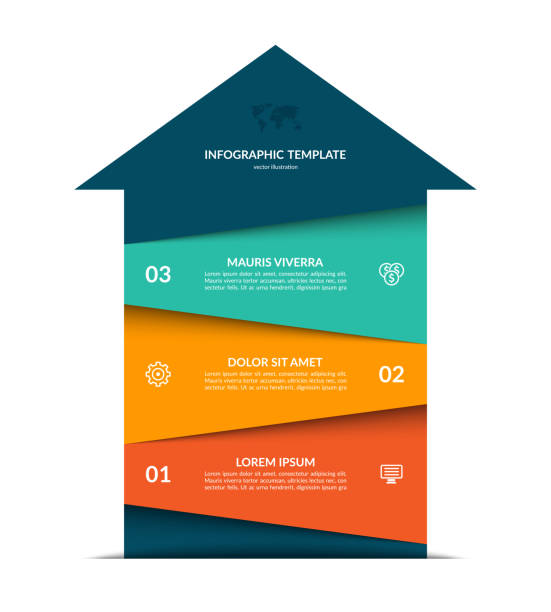 Upward arrow infographic template. Vector banner with 3 steps, options. Upward arrow infographic template. Vector banner with 3 steps, options. vertical stock illustrations