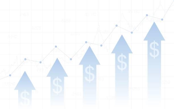 Flèche vers le haut avec le signe dollar en bourse - Illustration vectorielle